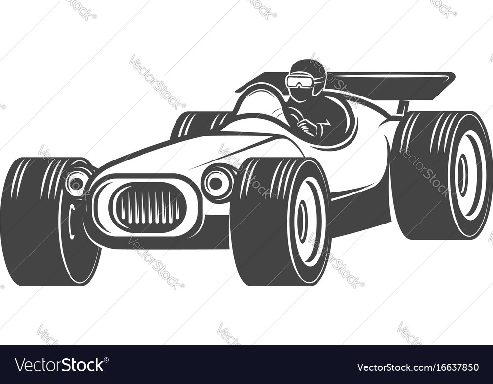 Vintage racer car isolated on white background