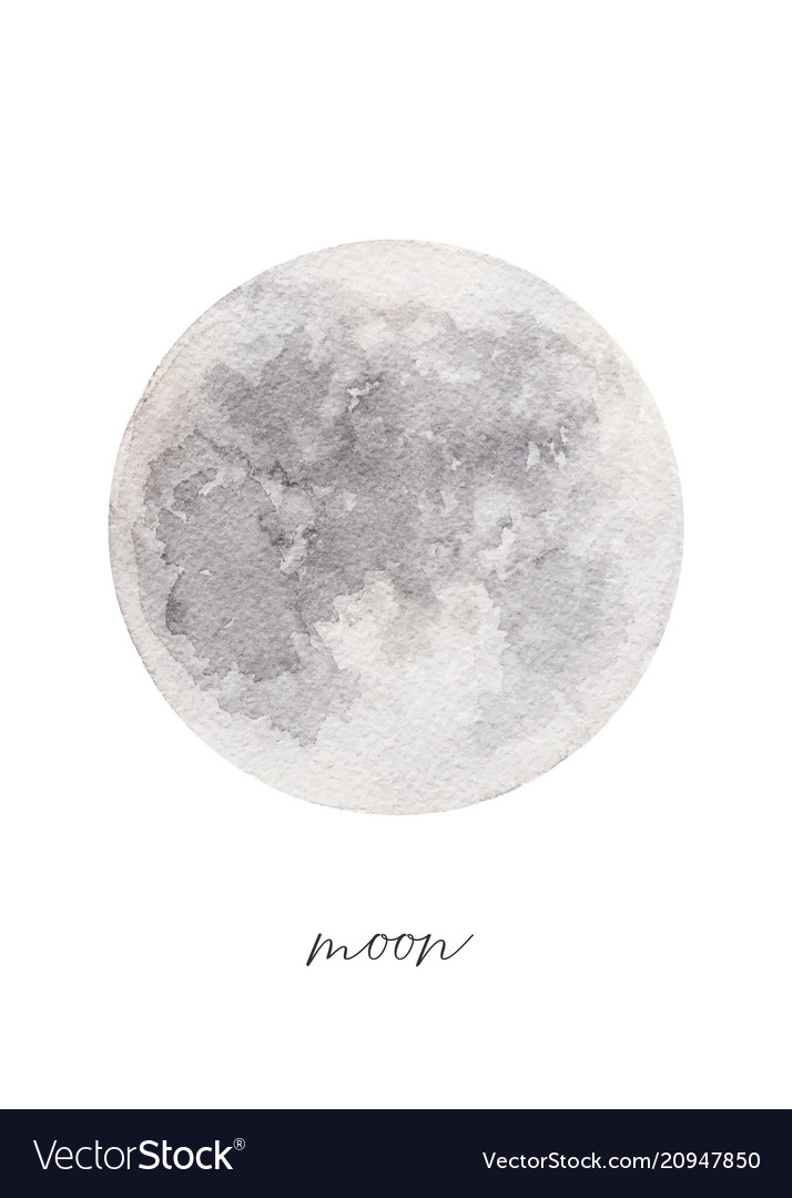 Watercolor texture full moon hand painted