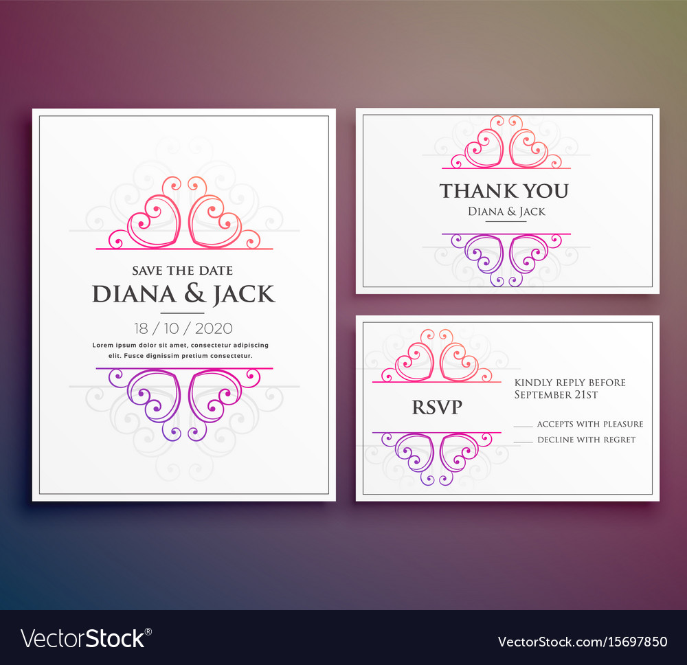Wedding card invitation design with thank you card
