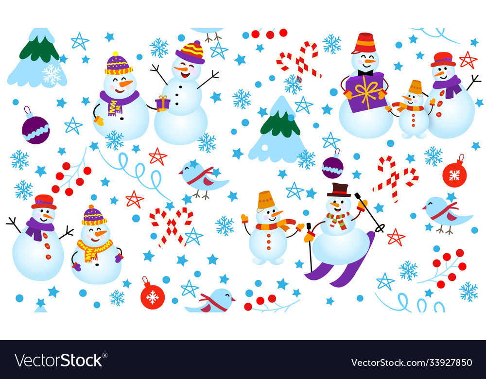 Winter pattern with snowmen tree and gifts