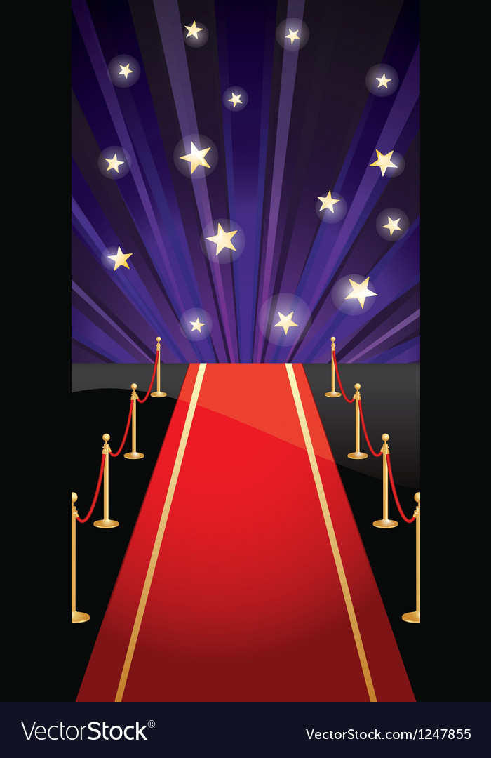 Background with red carpet and stars
