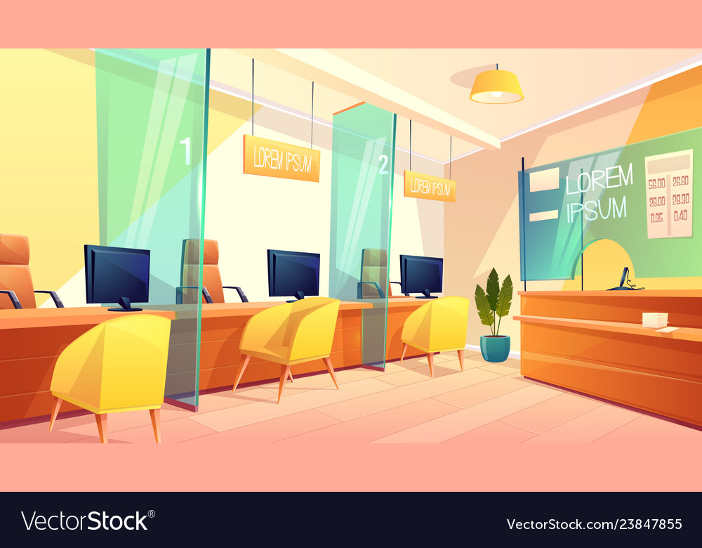 Bank Office Counters For Managers Clients Vector Image