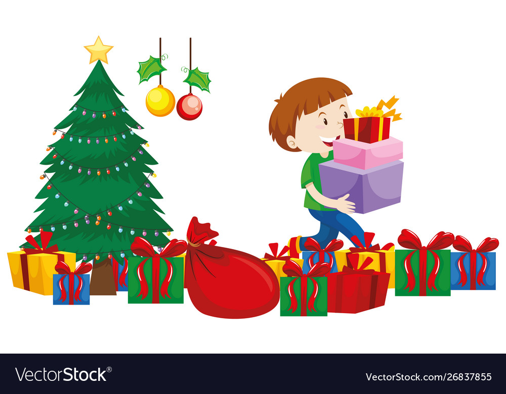 Boy with present boxes under christmas tree