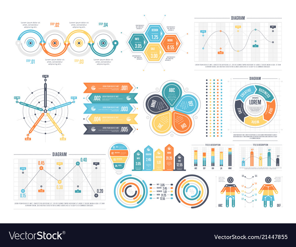 Bright templates for presentation in set