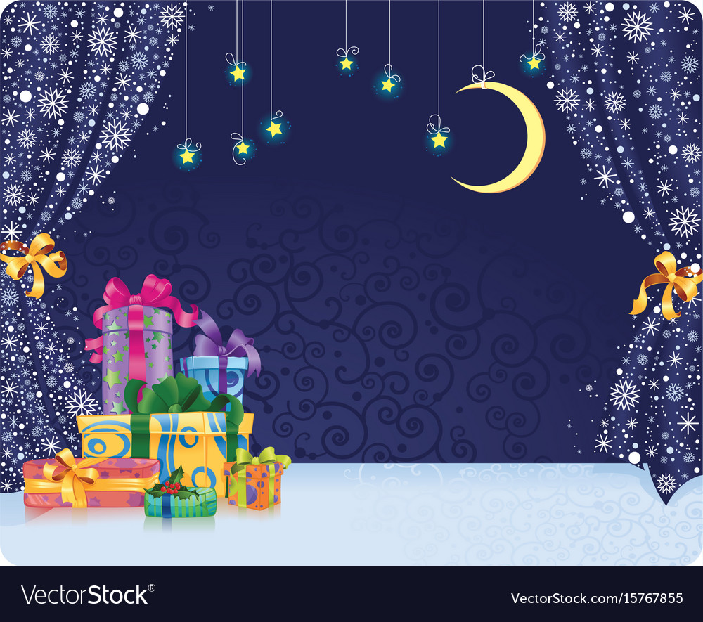 Christmas Holiday Background.Christmas Holiday Background With Gifts On Stage