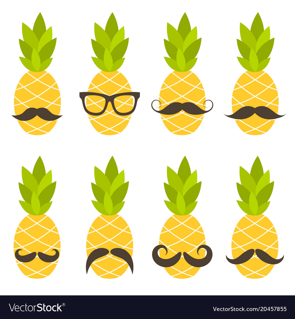 Cute pineapples with sunglasses isolated on white