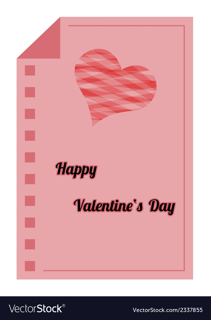 Happy Valentines Day Red Paper List Royalty Free Vector
