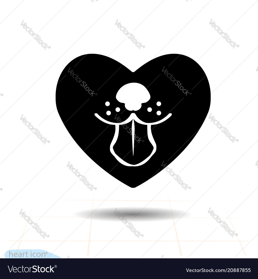 Heart black icon love symbol dog tongue in