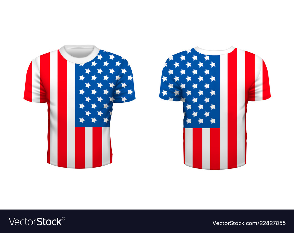 Realistic sport t-shirt with usa flag from front