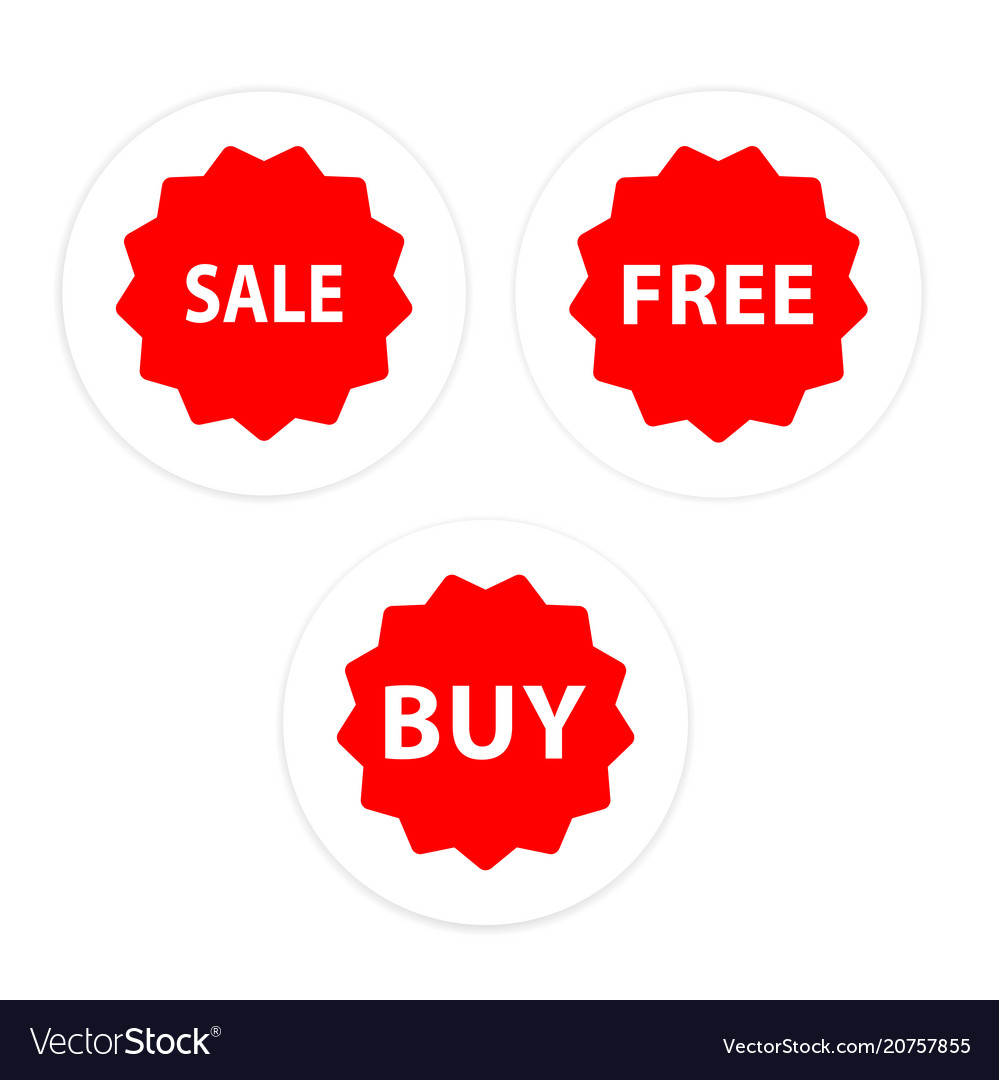 Sale free buy set icon red circle frame background