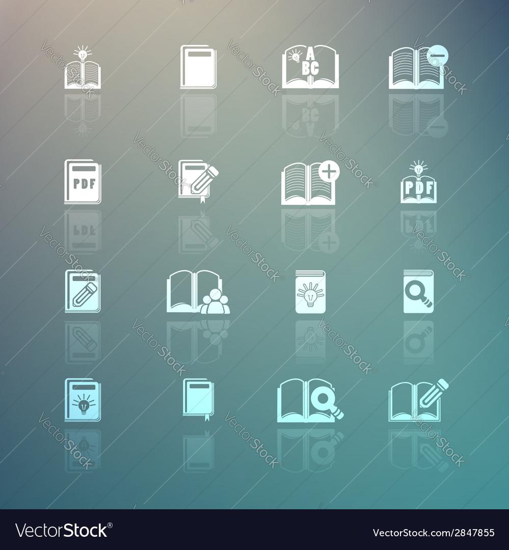 Set of books icons on Retina background