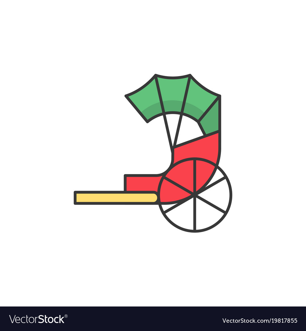 Traditional chinese rickshaw filled outline icon