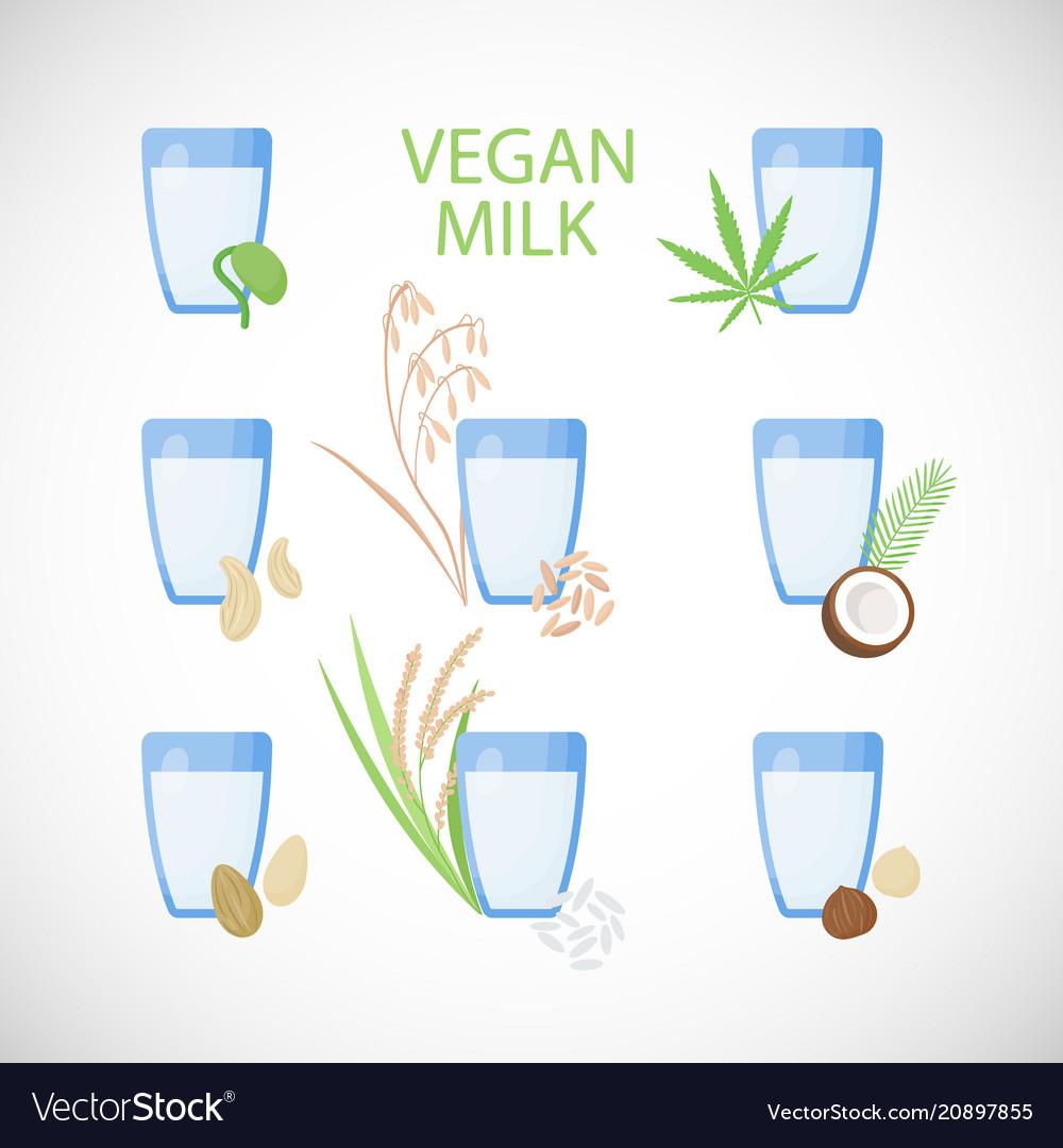 Vegan milk flat icon set