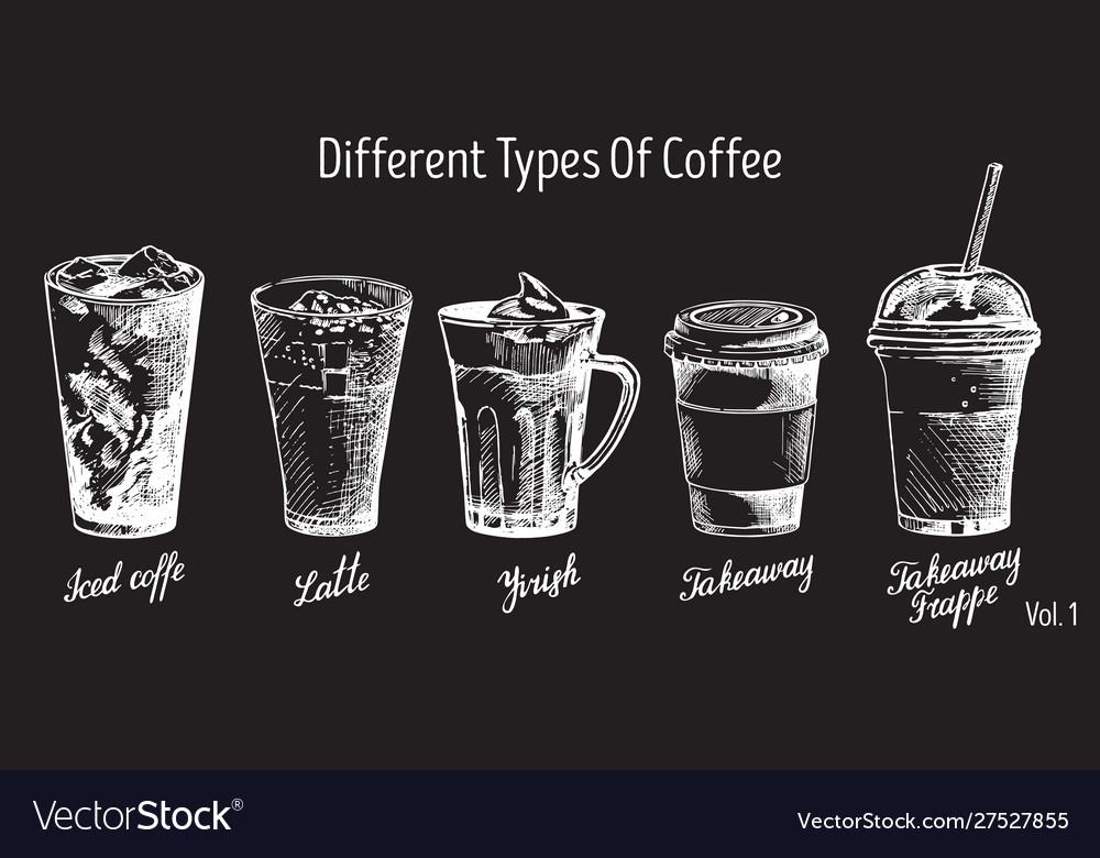 Vintage hand drawn coffee types set