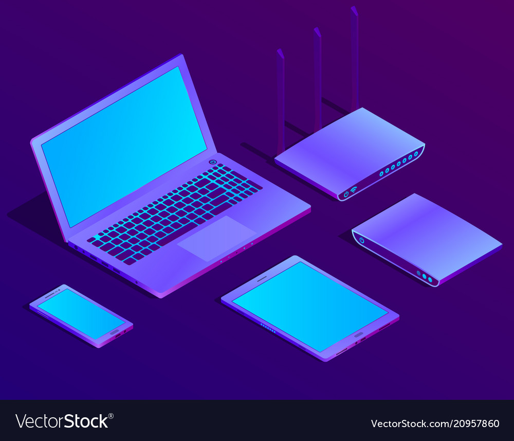 3d isometric laptop router with wi-fi