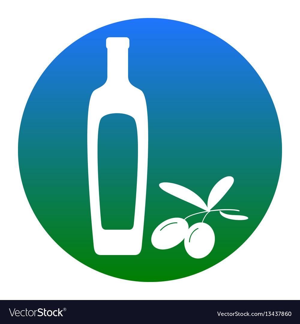 Black olives branch with olive oil bottle sign