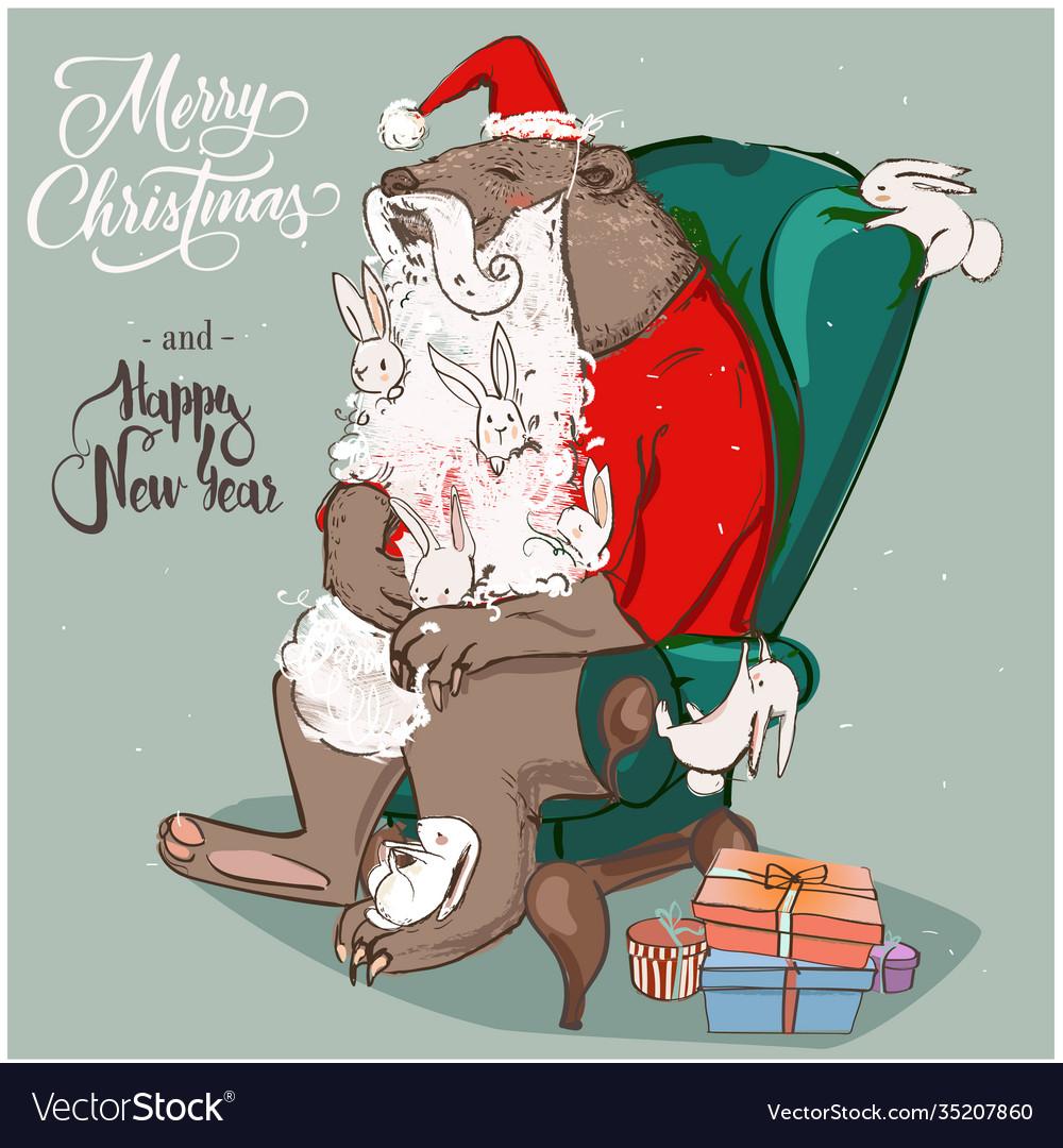 Cute santa bear with hares on armchair