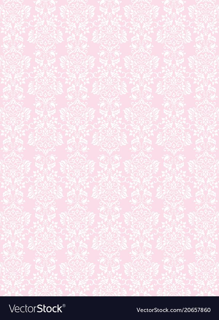 Elegant white flowers pattern textured pink vector image