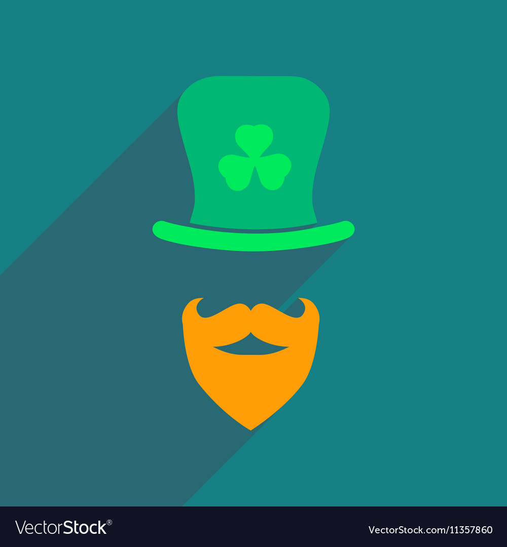Flat web icon with long shadow Irish hat beard Vector Image acdb2ac3d4c