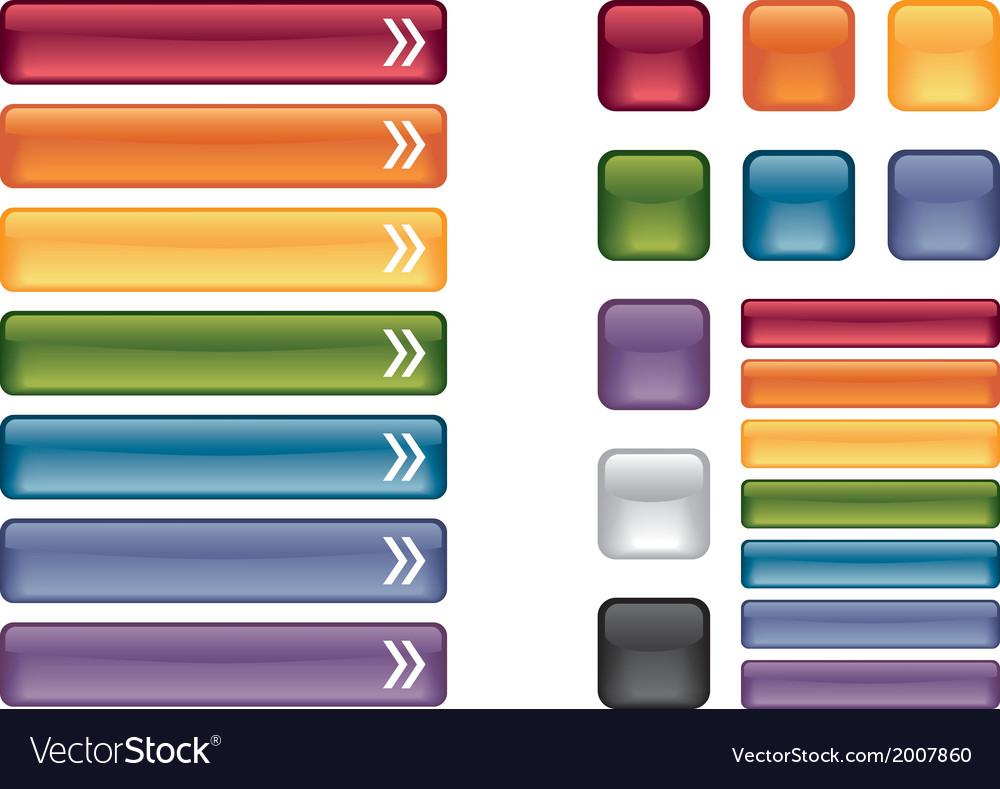 Glass UI website buttons set internet template
