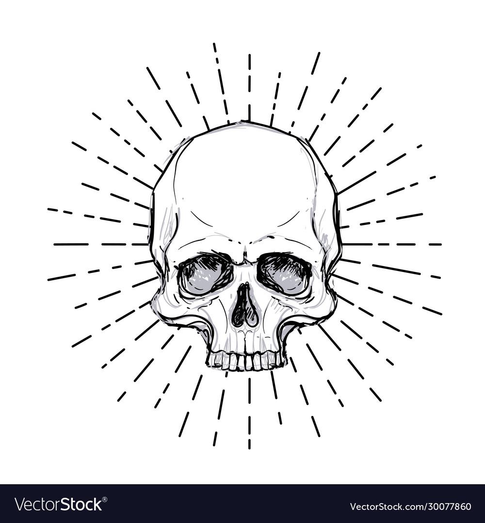 Human skull over sacred geometry symbol demon