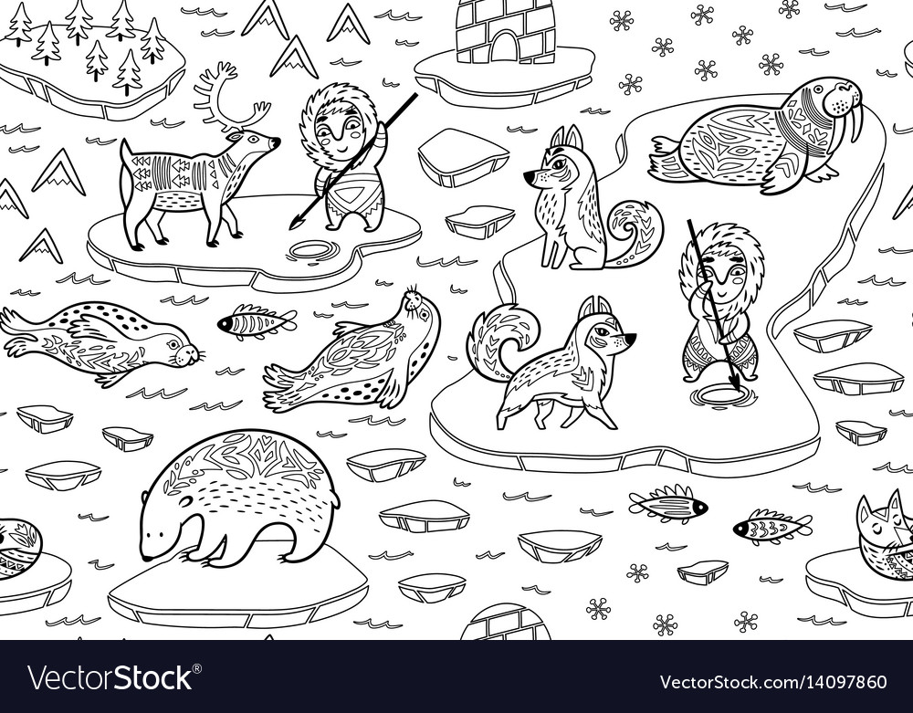North pole seamless pattern with wild animals