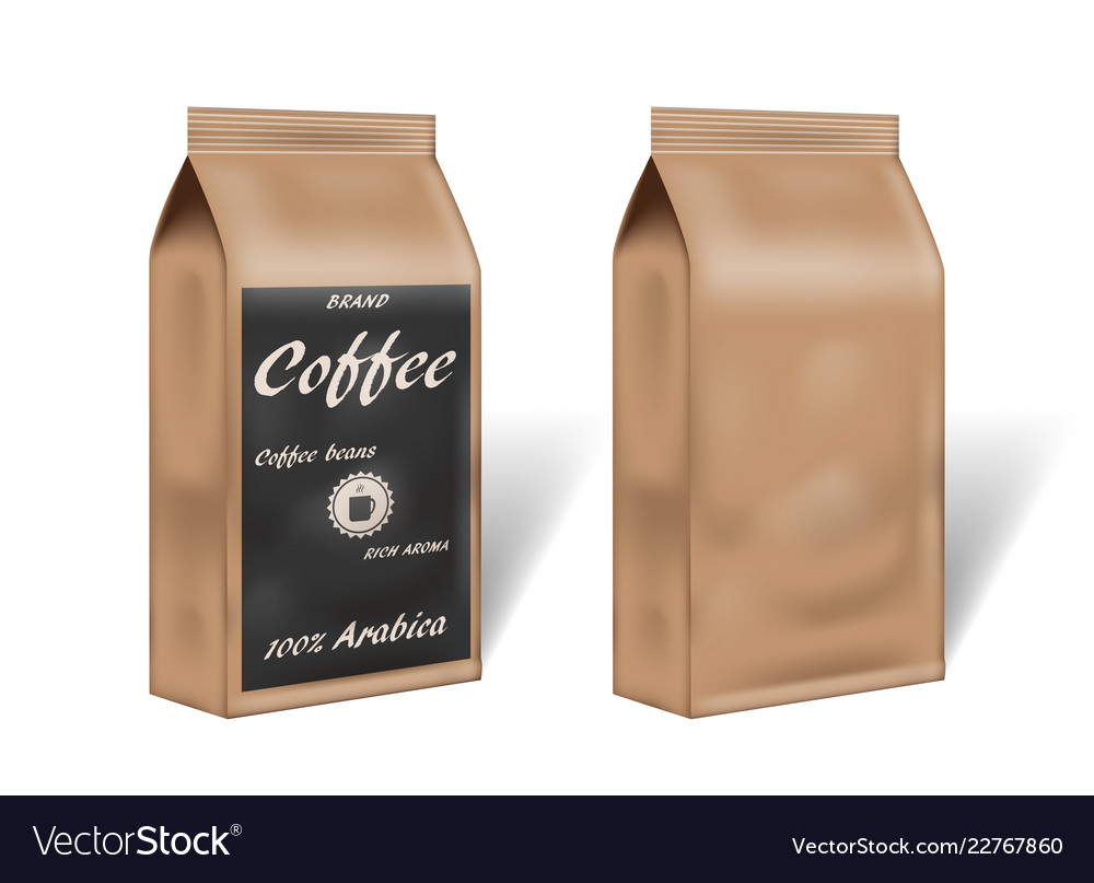 Paper arabica coffee package design mock up empty