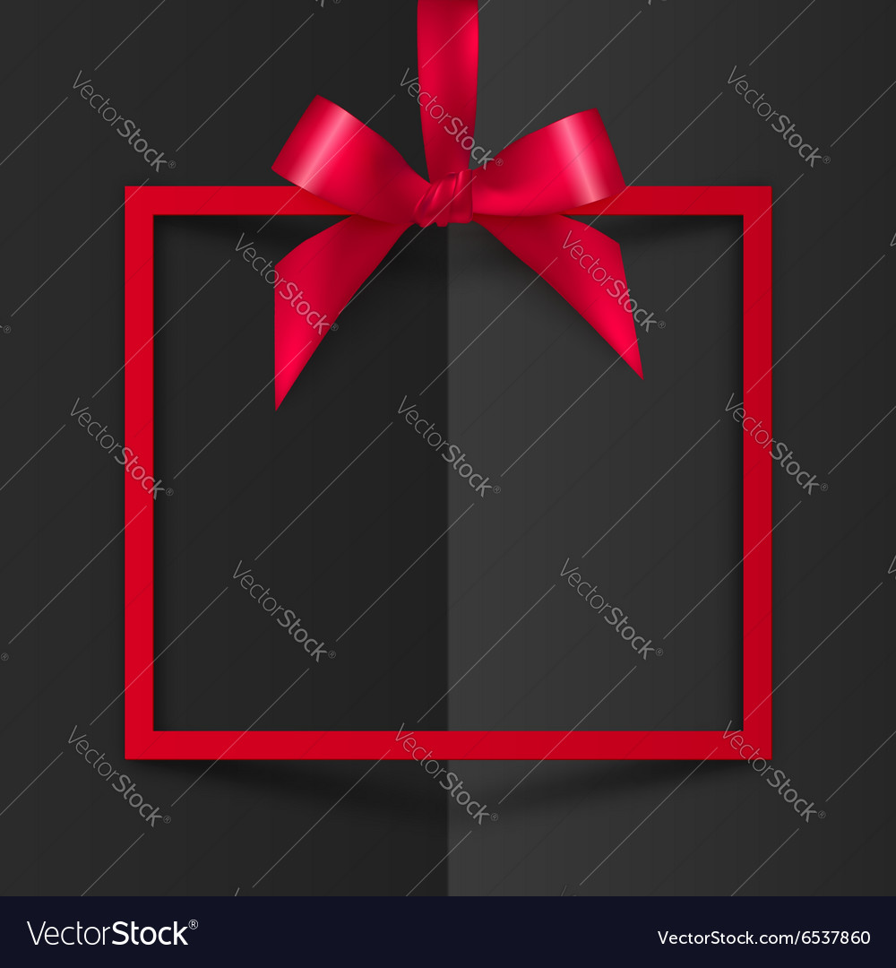 Red gift box frame with silky bow and ribbon on