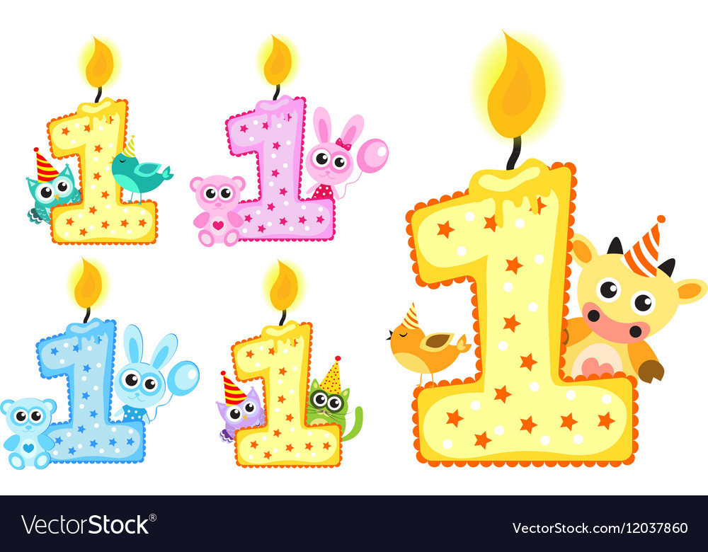 Set Happy First Birthday Candle and Animals
