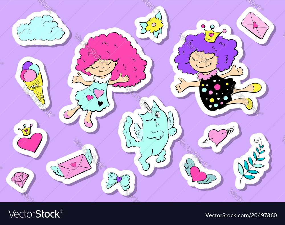 Set of cute stickers with hearts love flower and