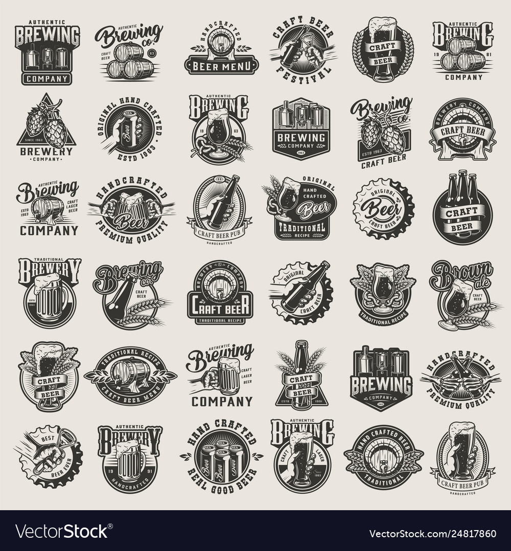 Vintage monochrome beer designs big set
