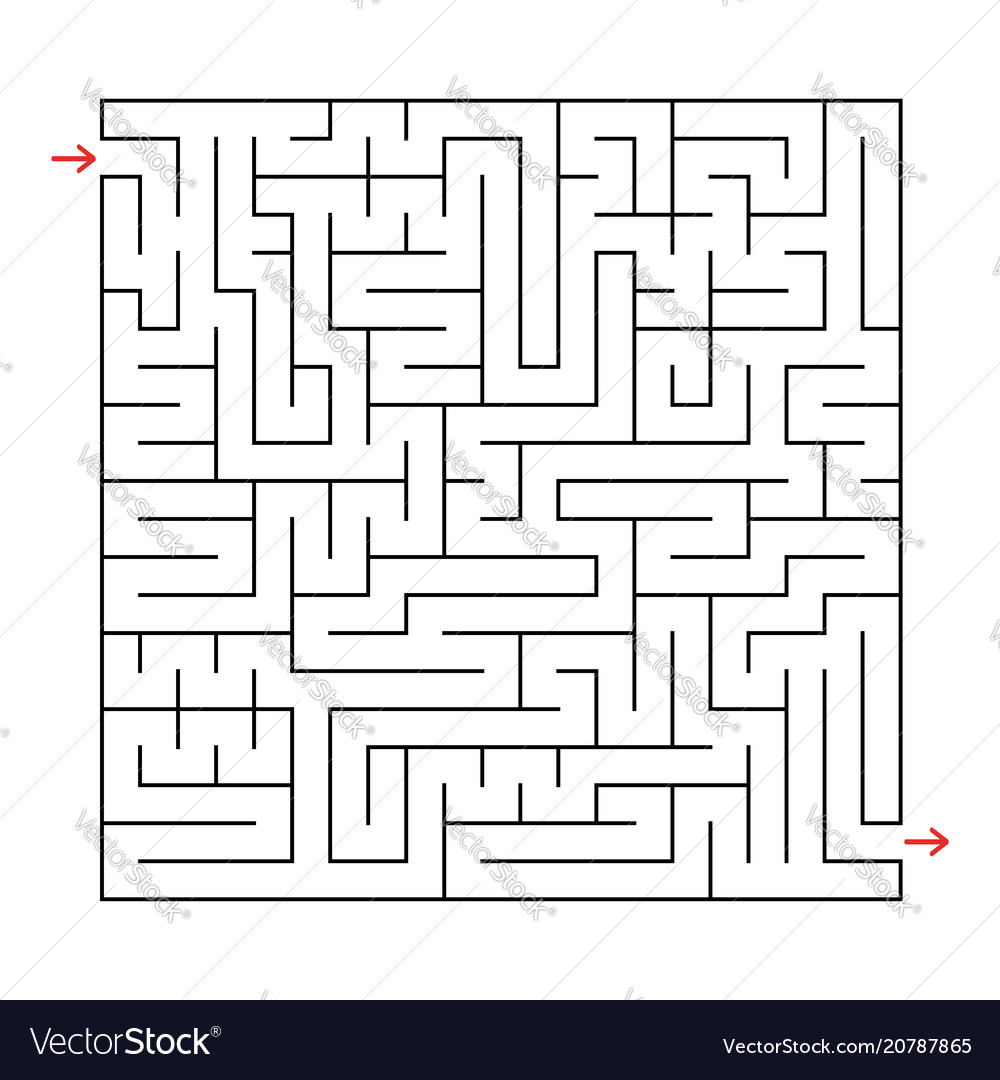 Abstract square labyrinth with a black stroke an