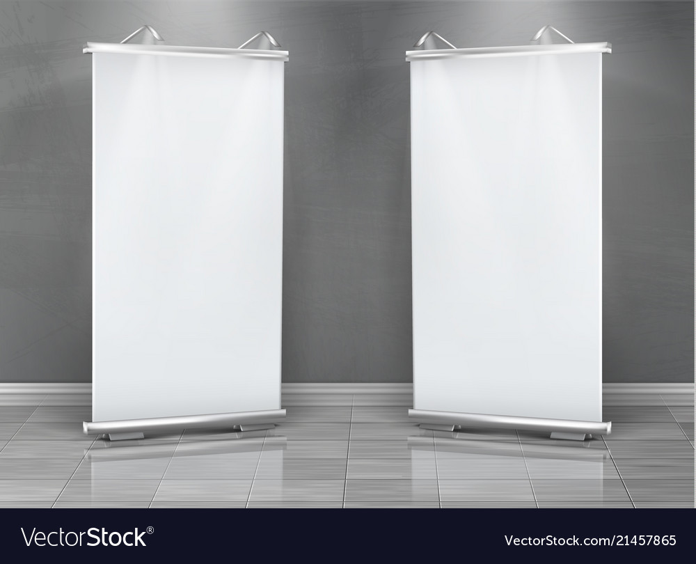 Blank roll up banners vertical stands