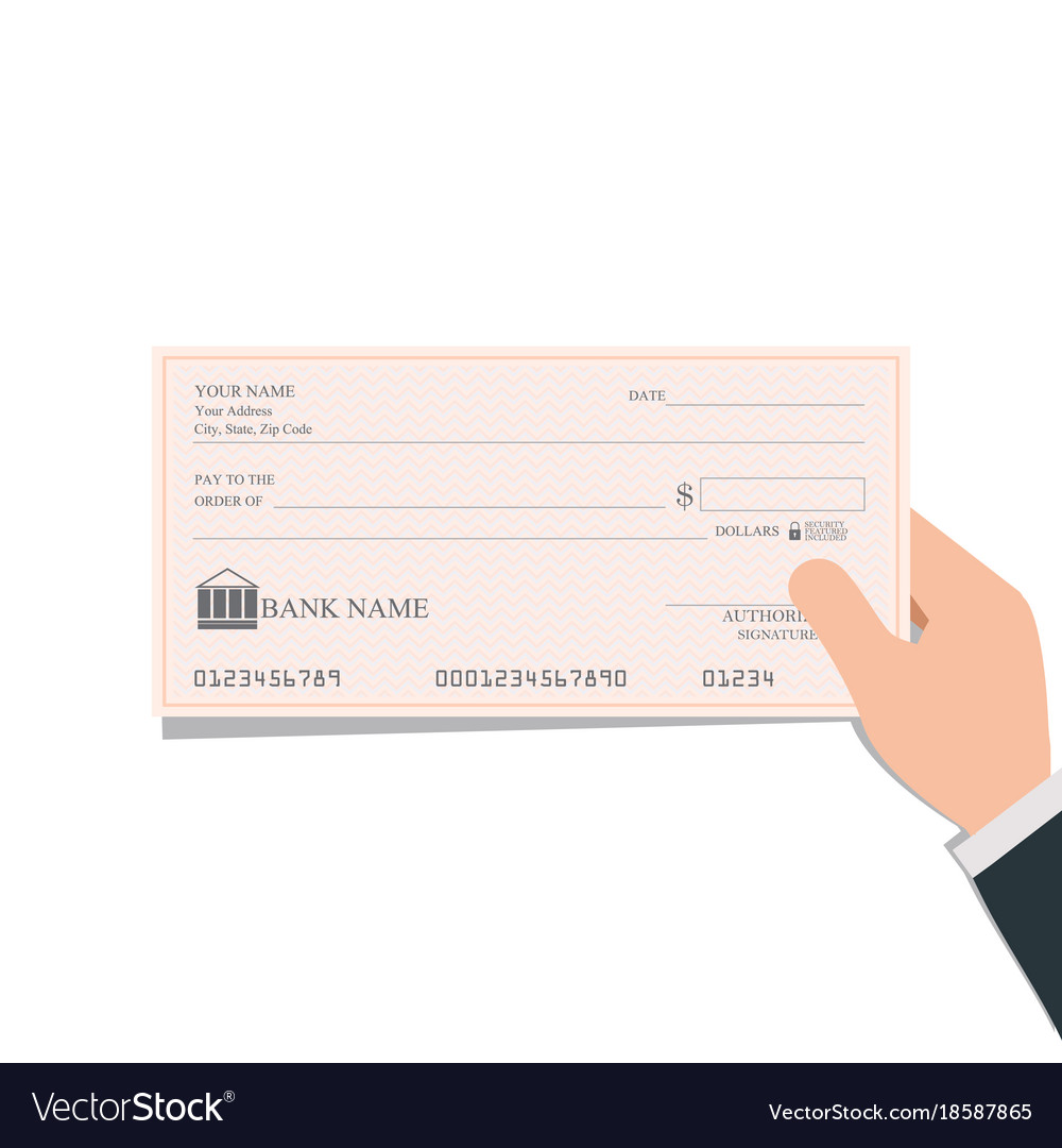 Businessman holding blank bank checks or cheque