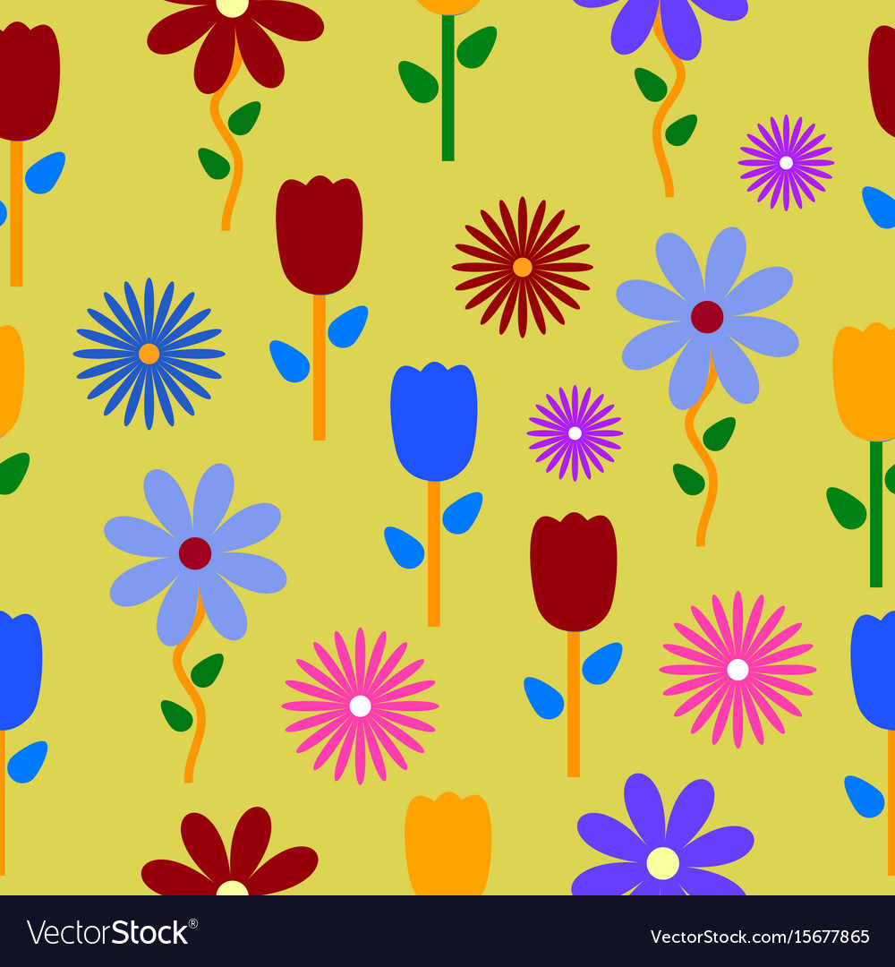 Colorful Flowers Background Pattern Royalty Free Vector