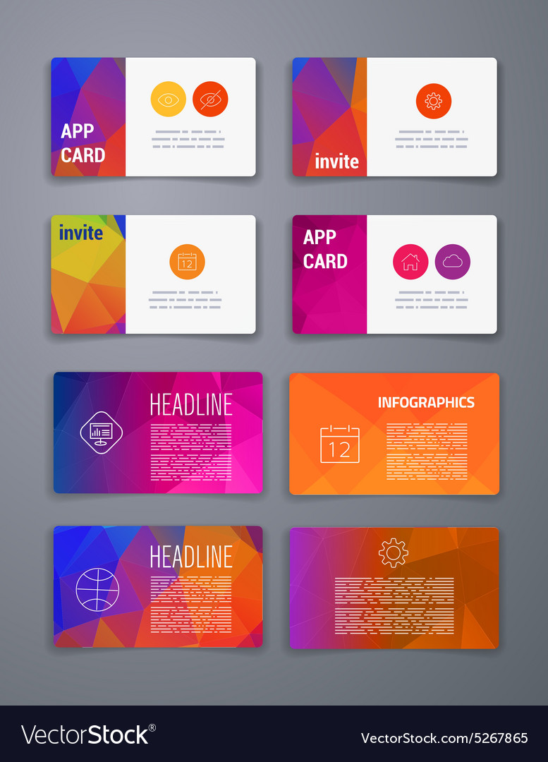 Colorful tiles templates for web ui and pring