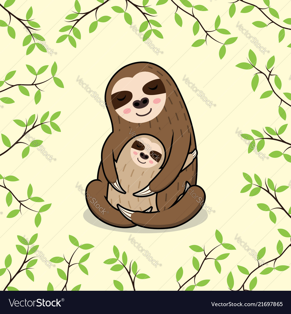 Cute Sleeping Mom And Baby Sloth Banner Royalty Free Vector
