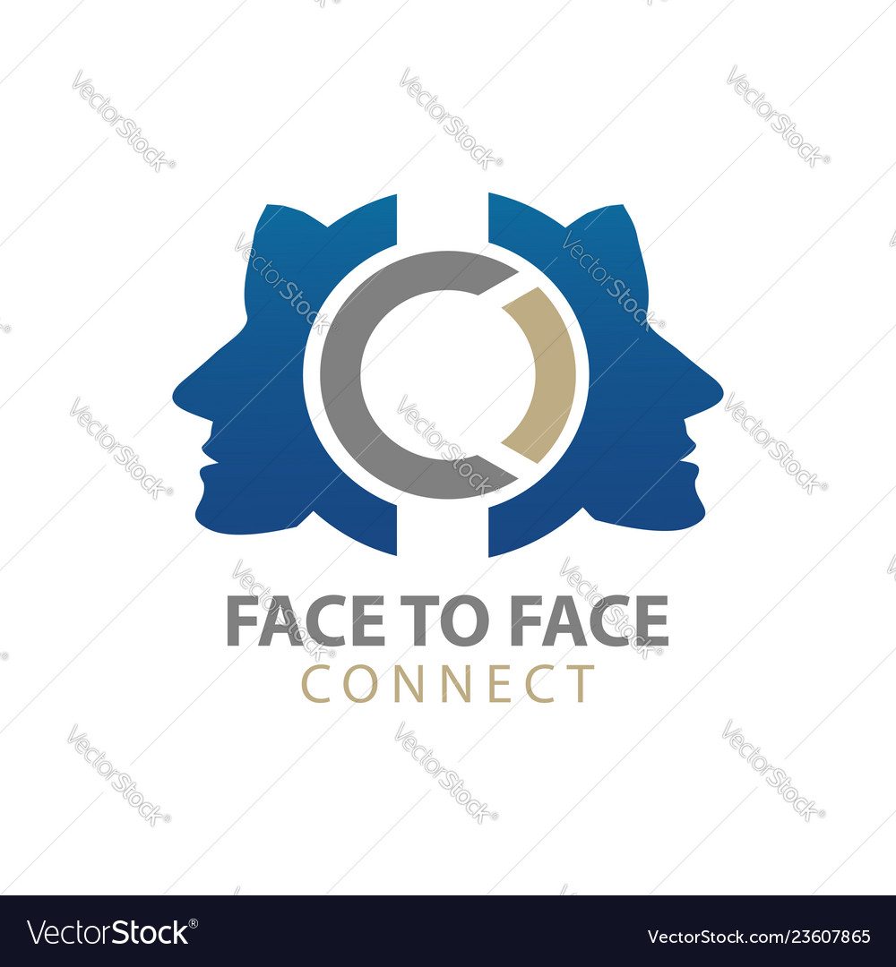 Face to face human character connect logo concept