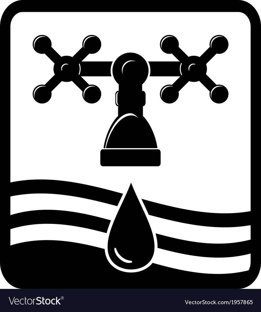 Faucet drop and wave icon vector image