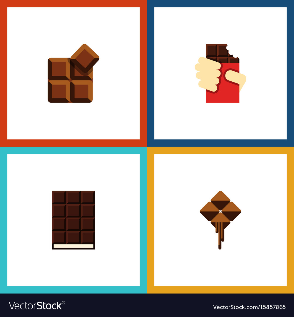Flat icon chocolate set of shaped box delicious vector image