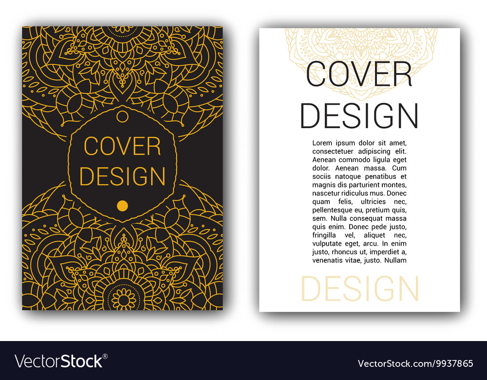 Gold Ramadan brochure pages ornament vector image