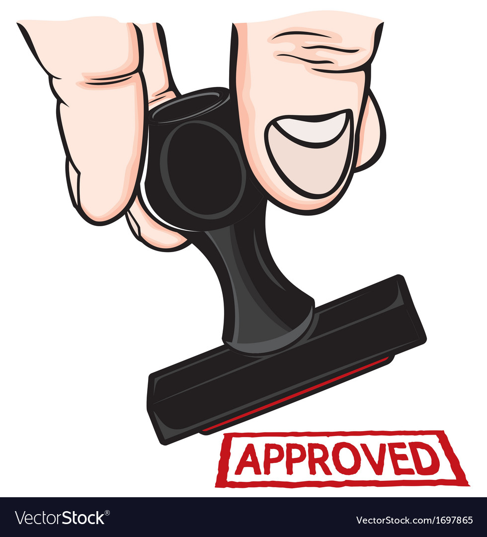 Hand and stamp Approved