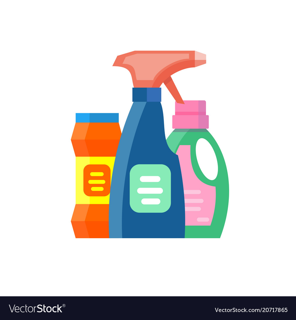Household chemicals bottles pack cleaning