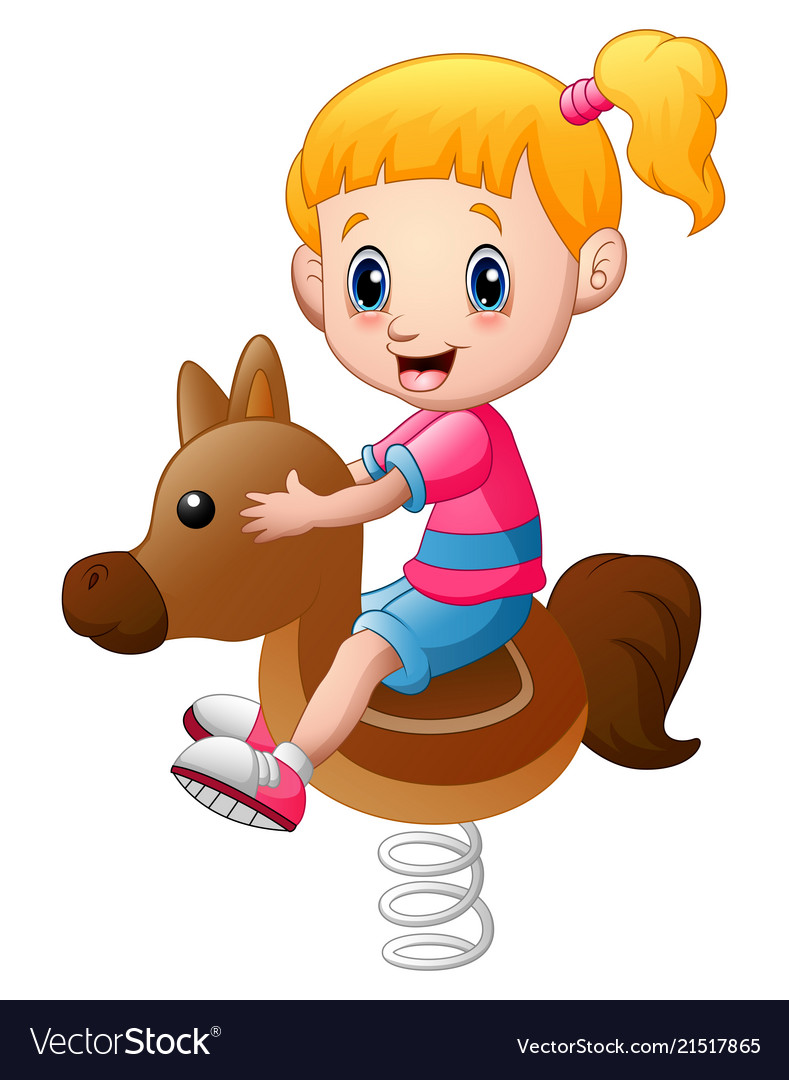 Little girl playing rocking horse