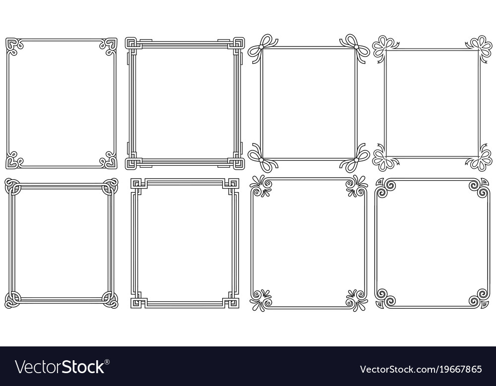 Ornamental corners different style vintage set vector image