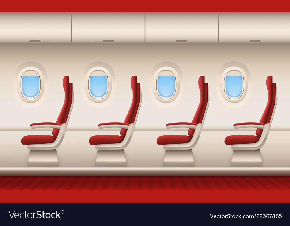 passenger plane interior aircraft cabin with vector image