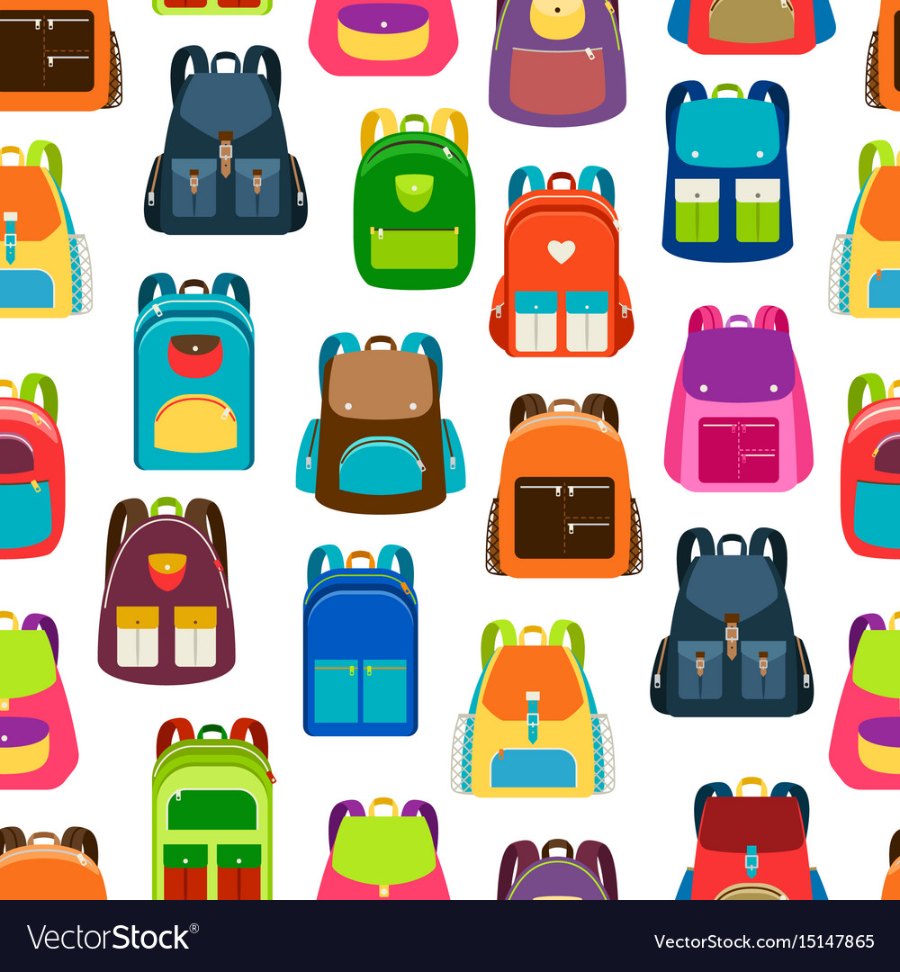 School cartoon pattern with colorful backpacks vector image
