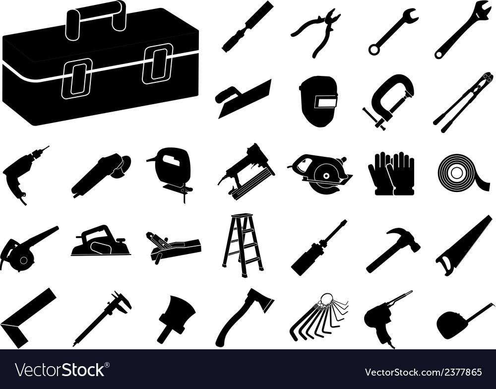 Set of black tool icon