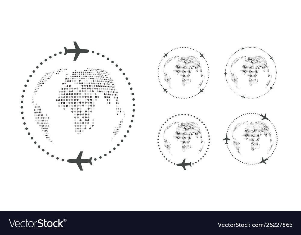 Set simple traveling icons around world on