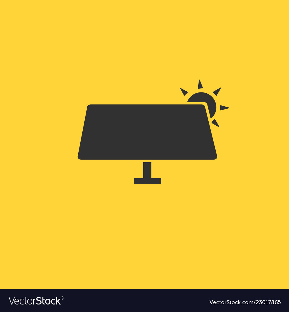 Solar panel icon in flat style isolated on yellow